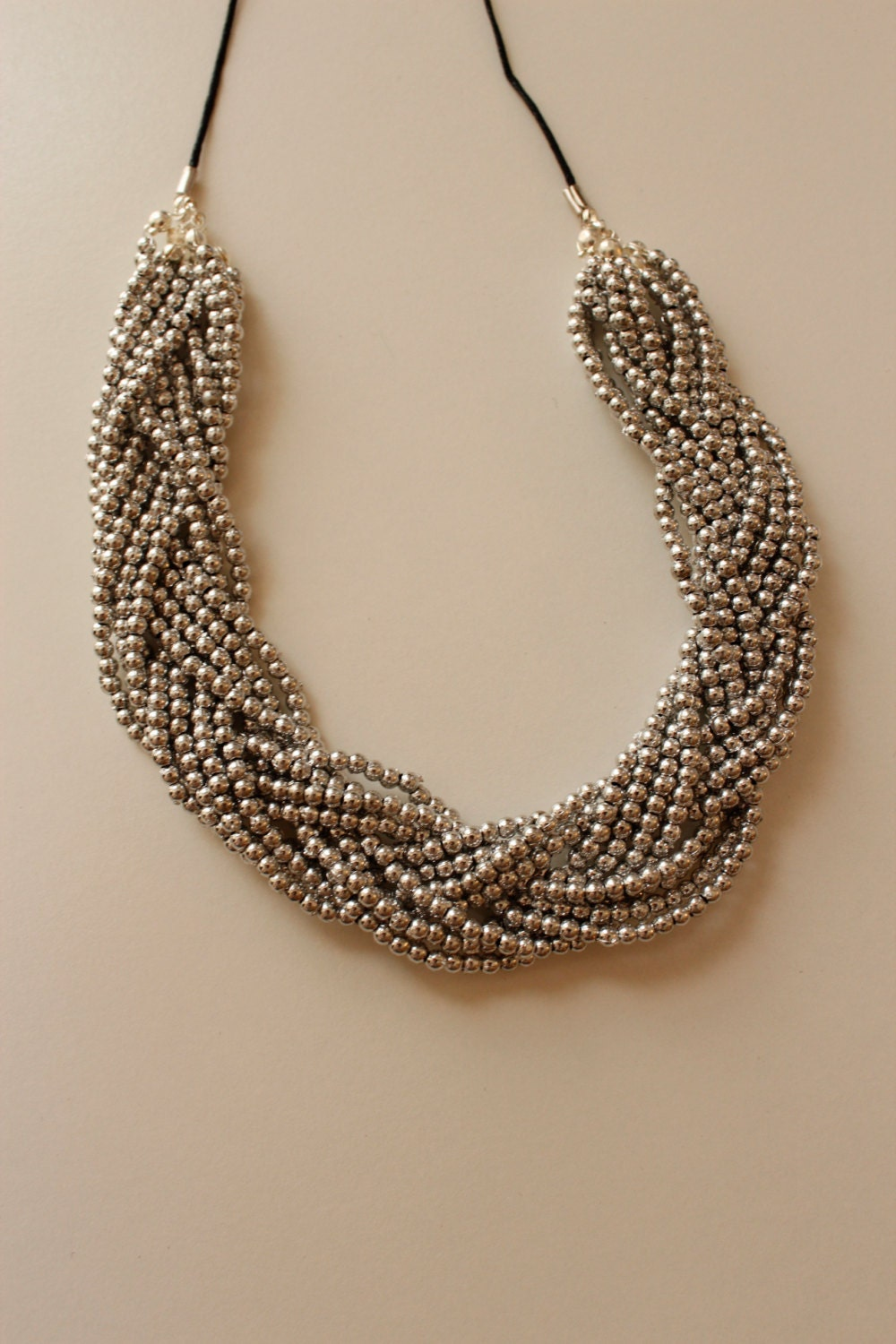 braided bead necklace multi strand bead necklace silver