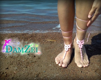 Barefoot Sandal, Crocheted Heart Anklet, Pink Barefoot Sandal, Lace Barefoot Sandal, Barefoot Anklet, Foot Jewelry