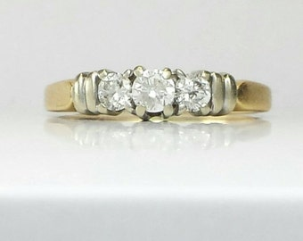 VALENTINES DAY SALE Past Present Future Diamond and Two Tone 14k Gold Engagement Ring Size 8