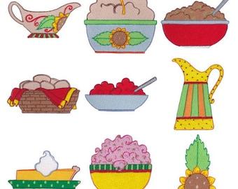 Thanksgiving Dinner Filled Stitch Machine Embroidery Designs 4x4 5x7