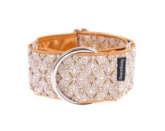 White gold martingale dog collar, martingale dog collars, dog collar, martingale collar, 2 inch, gold,white,dog collar