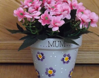 Personalised hand painted flower plant pots. Various colours.