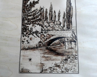 Ink drawing, vintage art, French art, pen and ink, shabby chic art, original landscape, wall decor, French country art, bridge art, 1930s