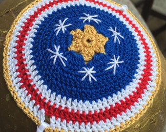American flag kippah USA patriotic red white blue Jewish yarmulke bris baby naming father son can personalize or YOUR flag