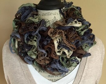 Handmade Ruffle Scarf in Brown, Moss Green, and Blue