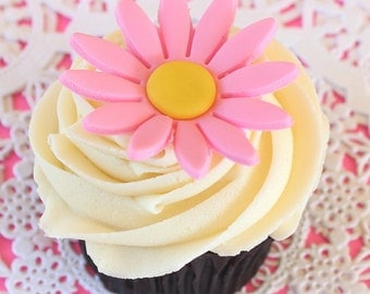 12 Fondant Pink Sunflower Flower Cupcake toppers-pink fondant flowers-fondant sunflowers
