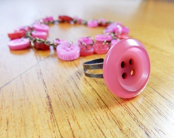 Button Jewellery, Buttons Bracelet, Button Ring, Jewelry Set, Pink Buttons, Repurposed Jewellery, Upcycled Buttons