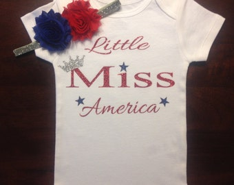 Little Miss america onesie and headband set, Little miss america, red white blue onesie, 4th of july onesie, fourth of july outfit