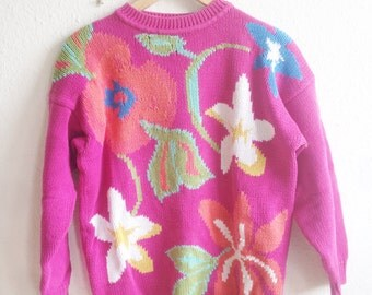 vivid pink vintage knitted sweater