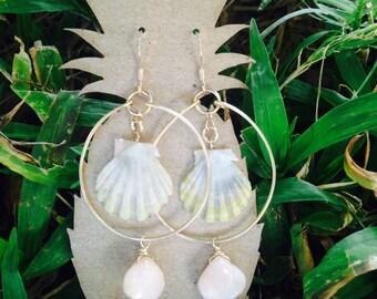 14k gold Sunrise Shell Earrings w/ pink opal