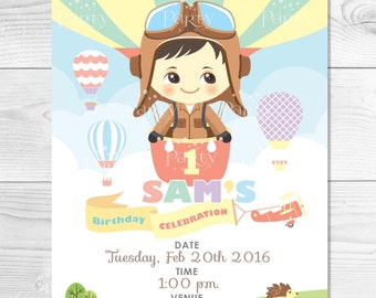 Hot Air Balloon & Little Aviator Invitation Card  (Digital Copy) **No physical item will be shipped