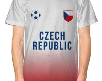 Czech Republic Football Nation All Over Mens Tshirt Kit Shirt Jersey Euro 2016