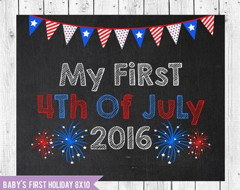 4th of July Photo Prop, July 4th Chalkboard Sign 8x10, My first 4th of July, Baby's firsy July 4th, Instant Download JPEG Printable