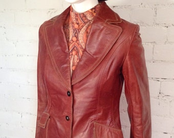 Vintage 70s tan leather jacket blazer