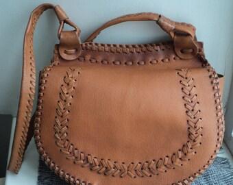 Vintage Women's bag light brown leather bag leather bag, vintage women's accessories, hippie bag, retro bag, leather bag