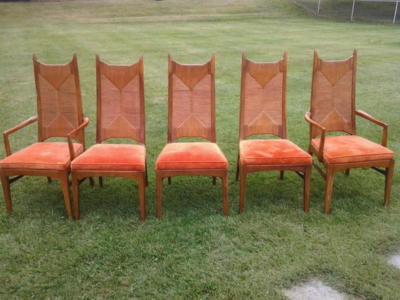 Mid Century Modern High Back Caned Dining Chairs Set Of 5