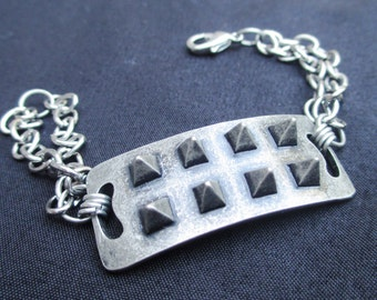 Silver spike chain bracelet rocker chic handmade jewelry