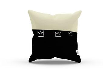 Art Series: Jean-Michel Basquiat's Crown No. 2 Pillowcase w/Stuffing - Yellow Cream Black Pillow, Home Decor, Abstract Illustration Pillow