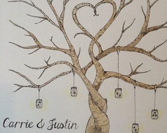 Custom finger print tree wedding guest book