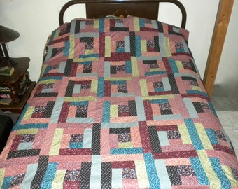 homemade quilt top 58x82 Log Cabin