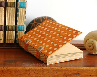 Diary orange polka-dot, for she, Coptic binding, travel diary, book, notebook, notebook