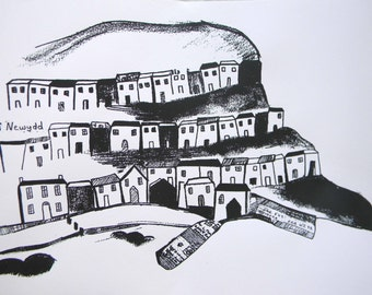 sILK SCREEN PRINT OF New Quay Ceredigion