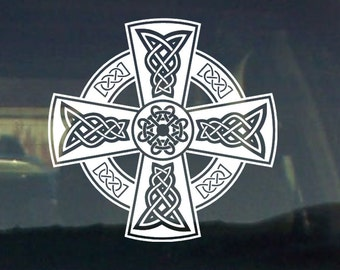 CELTIC CROSS GRAPHIC car vinyl decal sticker window croix celtique irish cross Cheilteach truck window bumperlaptop
