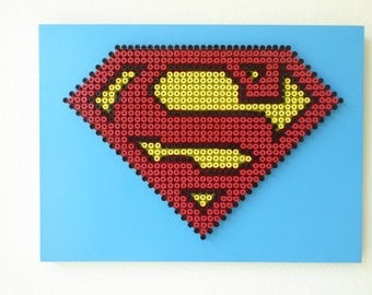 """3D SUPERMAN Wall Art Handcrafted with 756 Screws inserted into a 3/4"""" Wood. Size 19"""" x 14"""". Ready to Hang ."""