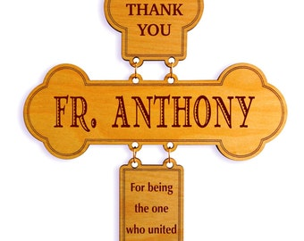 Reverend Father/Priest Appreciation Gift On our Wedding,Wedding Officiant Thanks Gift From Couple,Custom Wedding Celebrant Cross, DWO003