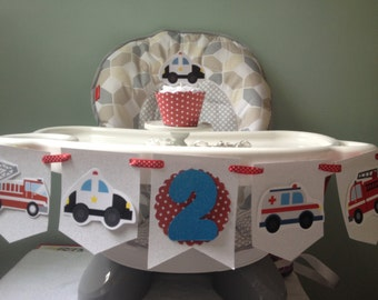 Emergency Vehicles, Police Car, Fire Truck, Ambulance 1st or 2nd Birthday Party Highchair Banner