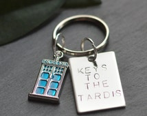 Doctor Who Keyring, Tardis Keychain, Dr Who Keys, Whovian Keyfob, Gift For Him, Police Box, Dad Fathers Day, Time Lord Car