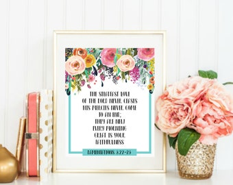 Lamentations 3:22-23 Floral Print, Steadfast Love of The Lord Never Ceases, Bible Verse Print, Encouragement Print, Scripture Print