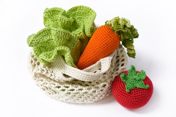 Crochet Carrot 1pc Play Food Teething Toy