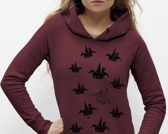 Hooded Sweatshirt Burgundy fair BIO cotton visual Origami