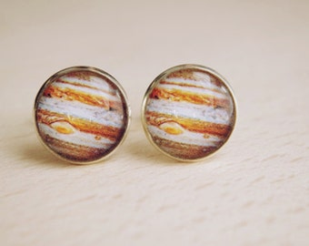 Jupiter Cufflinks  Planet Cufflinks  Space Jewelry Nebula Cufflinks  Women Space Jewelry Anniversary gift Gift for him Man jewlery  for Dad