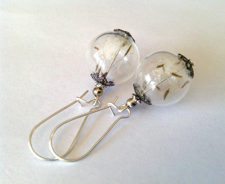 dandelion earrings real dandelion seed by newjewellerystory
