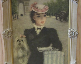 "Shabby Chic Cherry Jeffe Huldah Signed Print ""Les Deux Camarades"" * French Lady With Dog Print"