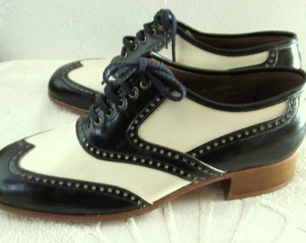 Marked Down 25% @@,Mens Deadstock Vtg 40's 2 Tone,ART DECO era SPECTATOR Shoes By Florsheim.8D
