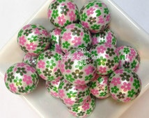 20mm FLOWER print matte pearl beads - for chunky bubblegum bead necklaces