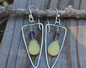 Silver Triangle Earrings, Silver Dangle Earrings, Lemon Jade Briolette, Crystal Earrings