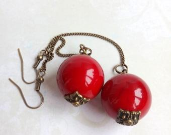 Ball earrings Red earrings Coral earrings Big ball earrings Long earrings Chain earrings Simple earrings Gift Laconic Dangle earrings Corall