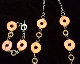 Coral Cutout Necklace, Bracelet, and Earring Set