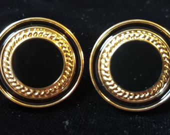 Black and Gold Round Stud Earrings
