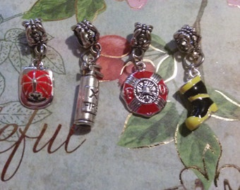 Fireman,Firefighter, Fire hat, Fire extinguisher, Maltese Cross, Fire Boot, Charms for European charm Pandora style or Adjustable bracelets