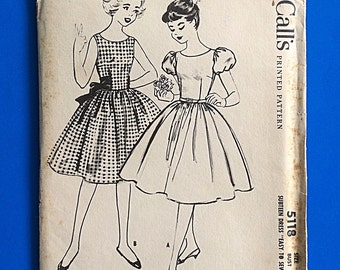 "50s DRESS, UNCUT, F/F, Size 14, Bust 33"", Genuine 1959 printed pattern, McCalls 5118."