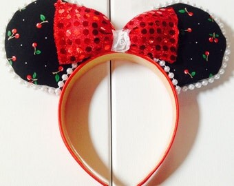 Pin up Cherry Mouse ears with Pearl trim and Sequined bow