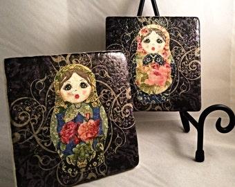 Babushka Russian Nesting Dolls Coaster Set (includes 4 tiles)