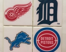 Coasters-Handmade Detroit Sport Team Logos Ceramic Coaster Set of 4- Red Wings- Detroit Lions- Detroit Tigers- Detroit Pistons