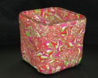 """Square Candle 3.5"""" Black Spiral"""