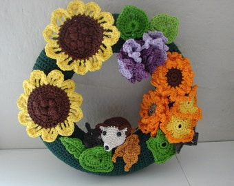 Crochet pattern fall flowers and leaves | crochet pattern hedgehog | autumn flower | autumn leaf | pattern fall | crochet pattern flower